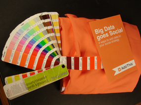 PMS Color Chart with Orange Tablecloth and Brochure