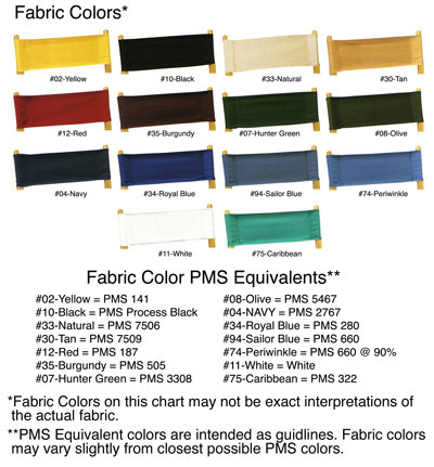 Directors Chair Color Chart showing fourteen PMS Colors to select from.