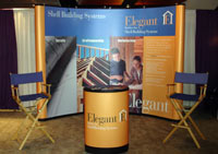 Two blue Tradeshow Chairs compliment this ten foot exhibit.