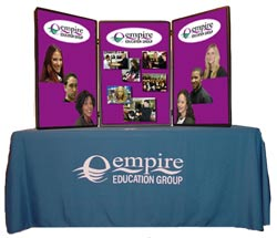 Table Top Display and Custom Tablecloth with Logo.