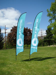 Two, single sided, light blue feather banners.