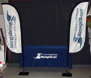 Two Feather Banners with Tablecloth and Custom Logo