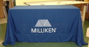 Navy Blue Tablecloth with White Letters and Custom Logo.