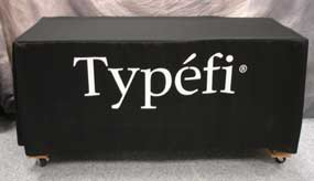 Six Foot Black Fitted Tablecloth with White Logo